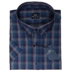COTTON VALLEY  SHORT SLEEVE DARK CHECK  SHIRT GRAPHITE/TEAL/PURPLE 2 - 8XL