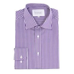 "DOUBLE TWO  PARADIGM 100% COTTON NON-IRON LONG SLEEVE CHECK SHIRT PURPLE 19 - 23"" COLLAR"