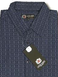 LOUIE JAMES Cool Cotton Printed Shirt NAVY DOT  2 - 3XL
