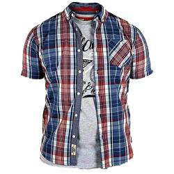D555 Short Sleeve Check Shirt and Tee Shirt Combo VINCENT