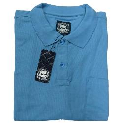 KAM  SIGNATURE  PLAIN PIQUE POLO WITH POCKET  BLUE  2 - 8XL