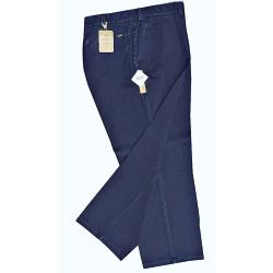 "SALE - OAKMAN Active Stretch Chambrey Washed Chino with Lycra WASHED NAVY 44"" REGULAR"