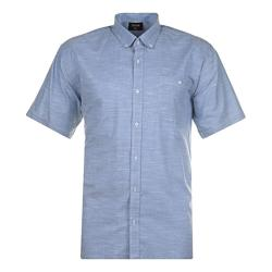 ESPIONAGE Short Sleeve Linen Look Cotton Shirt BLUE 2 - 8XL