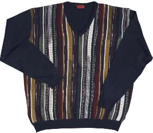 GABICCI Classically Patterned Designer  Vee neck Sweater NAVY