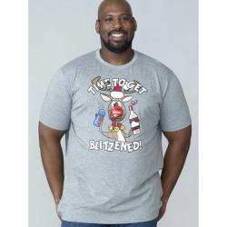 D555  TIME TO GET BLITZENED CHRISTMAS TEE SHIRT   GREY 3 - 6XL