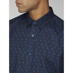 BEN SHERMAN  FLORAL PRINT LONG SLEEVE SHIRT NAVY 2 - 5XL