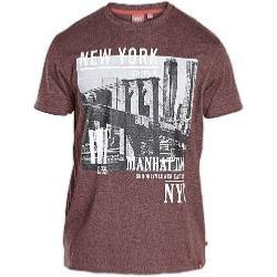 D555  Melange Tee shirt MANHATTAN BURGUNDY 3 - 8XL