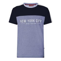 D555 KING SIZE MENS NEW YORK PRINT CUT AND SEWN TEE SHIRT ALVESTER BLUE MARL  3 - 6XL