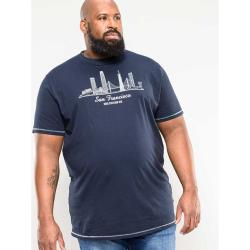 NEW - D555 SAN FRANCISCO PRINTED COTTON TEE  NAVY RANDWICK  3 - 6XL