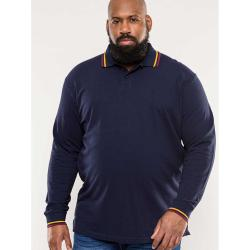 JUST ARRIVED - D555 LONG SLEEVE PIQUE POLO SHIRT WITH CONTRAST TIPPING DETAIL WELLINGTON NAVY  3 - 6XL