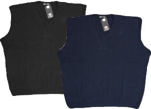 Plain Classic Vee neck Slip Over BLACK / NAVY