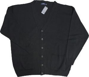 Big Men's Classic  Button Through  Cardigan BLACK 2 - 8XL