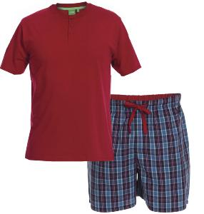 D555 Grandad  T-shirt with Woven shorts Pyjama Set Loungewear RED/NAVY