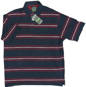 LOUIE JAMES Soft Stretch Jersey Polo Navy Striped with pocket NAVY/RED/WHITE 7XL