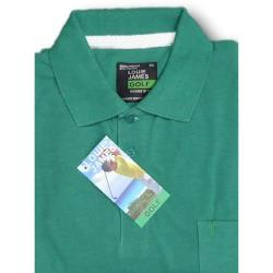 LOUIE JAMES Plain Polo Shirt with Pocket GREEN 6XL