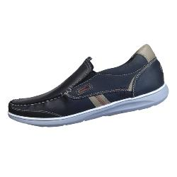 POD CASUAL LEATHER SLIP ON RAVEN - NAVY 13 - 15 UK