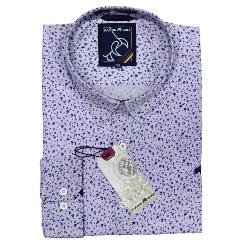 RAGING BULL NATURAL COTTON SMART-CASUAL  DITZY FLORAL PRINT LONG SLEEVE SHIRT LAVENDER 3 - 6XL
