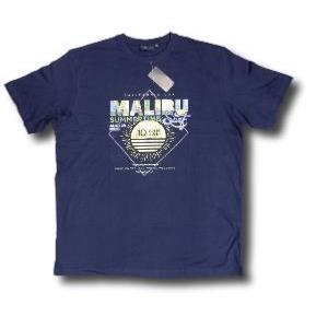 ESPIONAGE Cotton Tee 'MALIBU - Summer Time Surf'' NAVY -  2- 5XL