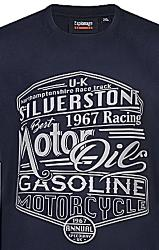 ESPIONAGE   COTTON PRINT T-SHIRT SILVERSTONE NAVY 2 - 7XL