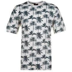 ESPIONAGE  INDIAN COTTON PALM PRINT TEE WITH CHEST POCKET MARL GREY 2 - 8XL