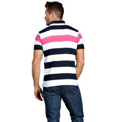 RAGING BULL BROAD STRIPED JERSEY POLO PINK/WHITE/NAVY 3 - 6XL
