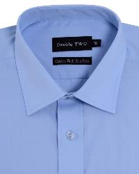 Double Two Non-Iron Cotton Rich Long Sleeve Shirt BLUE