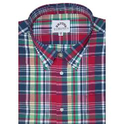 BRUTUS  Short Sleeve CHECK SHIRT WITH BUTTON DOWN COLLAR  RED MADRAS