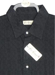 Bar Harbour Textured Black Cotton Casual Shirt 4XL