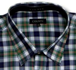 COUNTY Brushed Check Long Sleeve Shirt NAVY / GREEN / WHITE 2 - 3XL