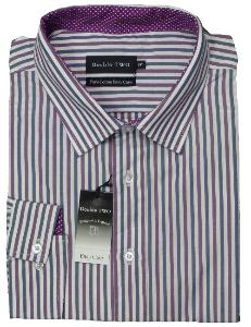 Double Two Pure Cotton Easy Care Office Shirt SLATE/WINE/WHITE