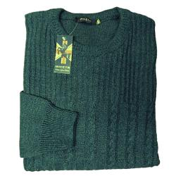 INVICTA CASUAL CABLE KNIT CREW NECK SWEATER  MOSS GREEN 3 - 5XL
