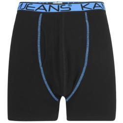 KAM TWIN PACK COTTON STRETCH JERSEY BOXER SHORTS BLACK / NAVY 2 - 8XL