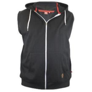 D555 King Size Sleeveless Hooded Zipper Sweatshirt  BLAKE -  BLACK