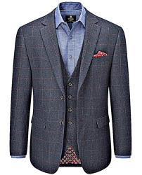 "SKOPES  HERITAGE COLLECTION  WOOL BLEND CHECK JACKET NAVY BURNS 50 - 66"" CHEST"