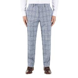 "SKOPES STARK CHECK  SUIT  TROUSERS  BLUE  46 - 56"" WAIST"