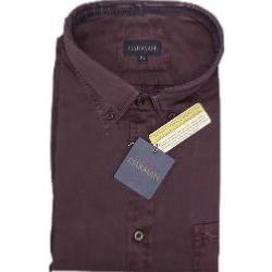 OAKMAN Cotton Twill Plain Long Sleeve Shirt PLUM