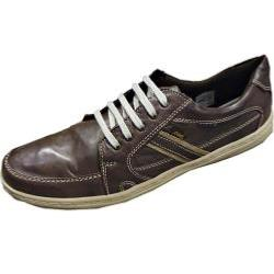 POD Casual Leather Shoe with stitch detail SPRINT BROWN 13 - 15 UK