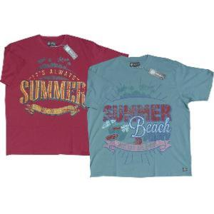 KAM  Summer Beach Twin Pack of Tee's RED and TEAL 2XL