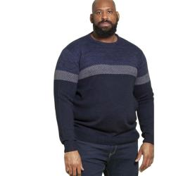 D555 JACQUARD PANEL KNIT CREW NECK JUMPER  CORBY NAVY 2 - 5XL