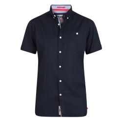 D555 KING SIZE SHORT NATURAL LINEN-COTTON SHIRT  BRIXTON NAVY  3 - 8XL