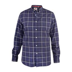 JUST ARRIVED - D555 LONG SLEEVE COTTON CHECK CASUAL SHIRT TOWNSVILLE NAVY  3 - 8XL