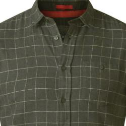 D555  LONG SLEEVE BRUSHED COTTON WINDOWPANE CHECK SHIRT OLIVE TAYLOR 3 - 6XL