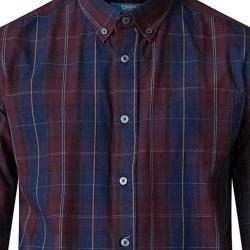 D555 LONG SLEEVE CHECK SHIRT WITH POCKET NAVY/WINE 3 - 6XL