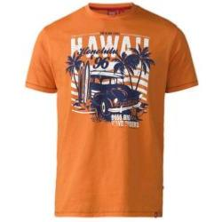 D555 Hawaii Print Crew T-Shirt  ORANGE 4 - 5XL