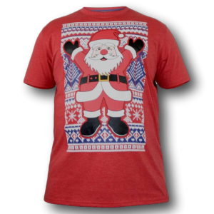 D555 Christmas Tee Shirt  SANTA RED 4XL