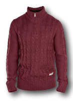 SALE - D555 Zipper neck Cable knit Sweater CORWIN WINE 2XL