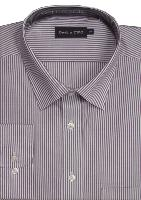 DOUBLE TWO Cotton Rich Classic Stripe Business Shirt WINE 19""