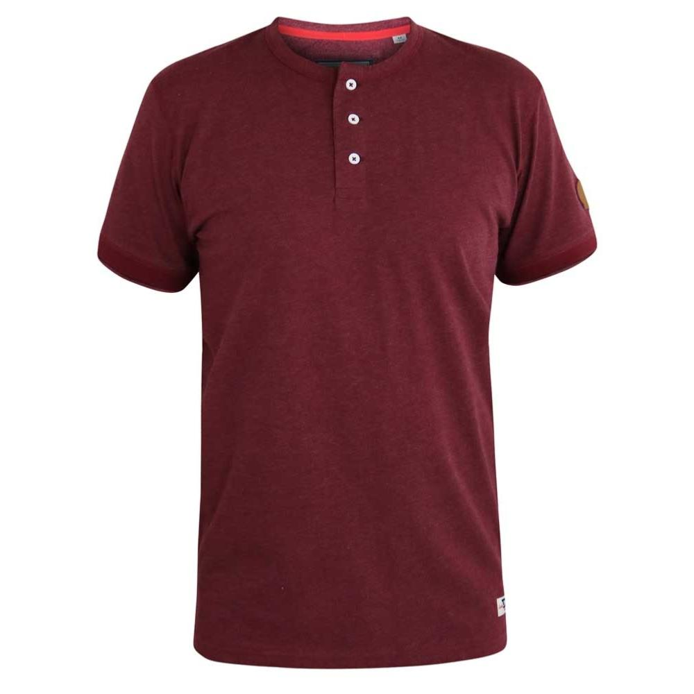 D555 Kingsize Mens Red Twisted Yarn T-Shirt With Grandad Collar DANIEL-1