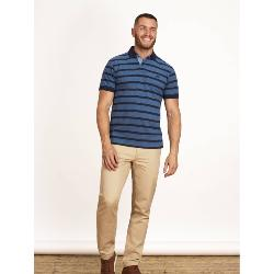 RAGING BULL BIRDSEYE STRIPE  POLO DENIM BLUE / NAVY 3 - 6XL