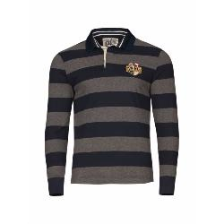 RAGING BULL RUGBY -  Long Sleeve Hoop Striped Rugby Shirt  NAVY/GREY 3 - 6XL